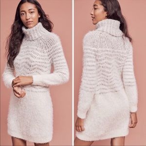 Sleeping On Snow White Fuzzy Turtleneck Dress